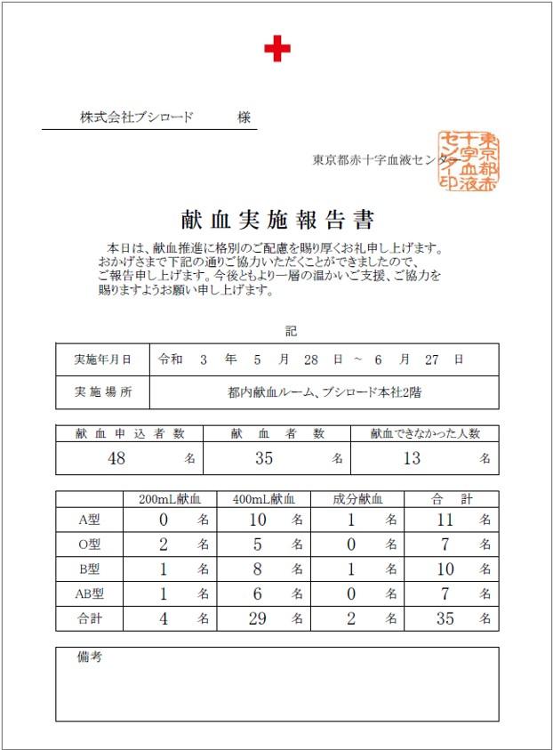 献血実施報告書
