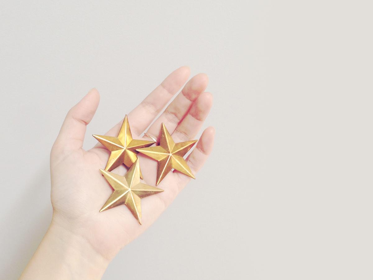 nichinichiの星のブローチとクリップ