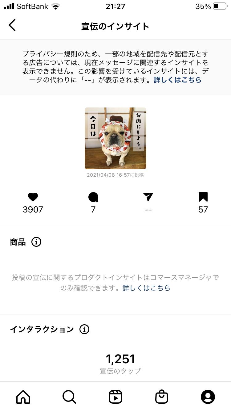Instagramインサイトの画面