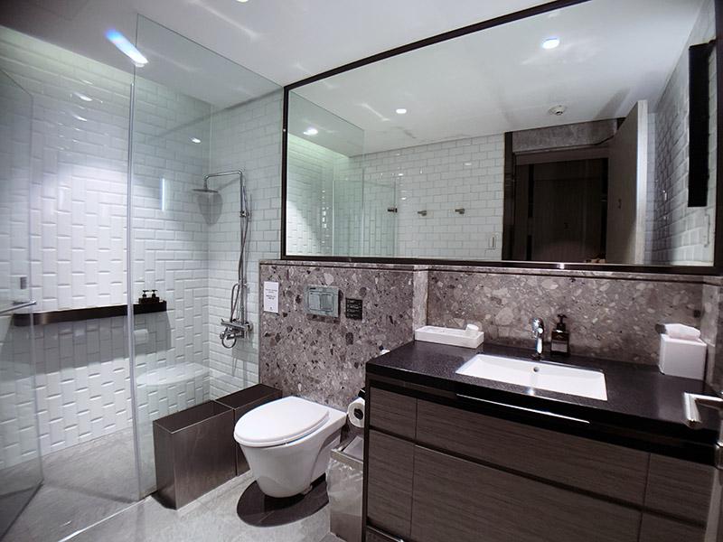 環亞貴賓室的沐浴室有巨大的鏡子和飯店級的裝潢