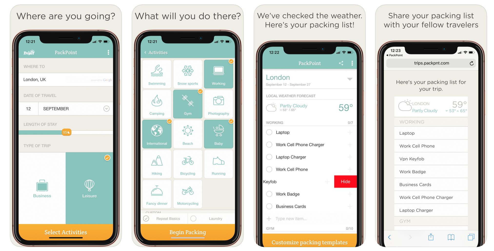 實用App:四隻手機螢幕主色調為白色藍綠色介面