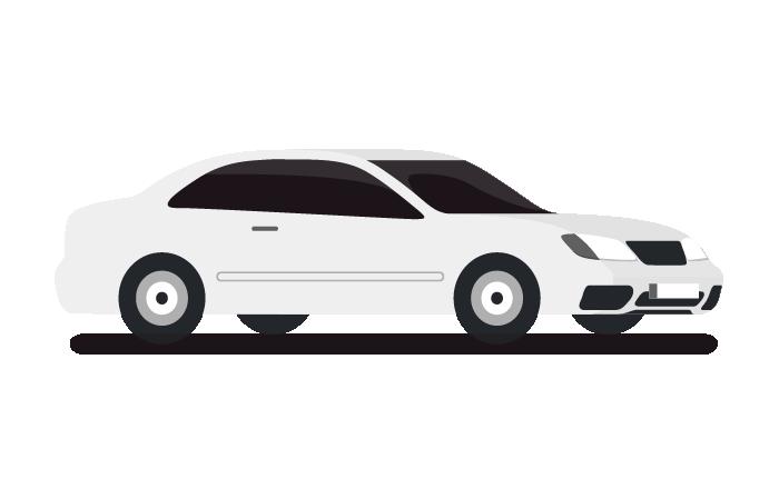 一台白色的車代表單趟