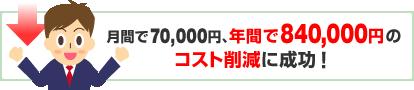 月間で70,000円、年間で840,000円のコスト削減に成功!
