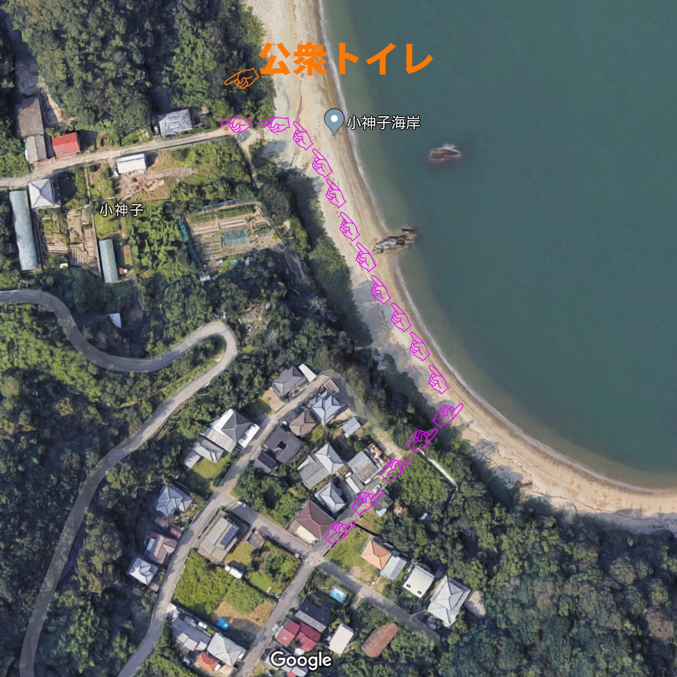 公衆トイレまでのルート(海岸経由が近道)