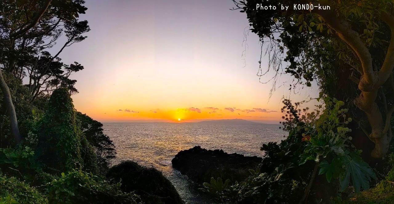 うちから歩いて30秒の岸壁から見た伊豆大島と朝陽。眼下には4000年溶岩海岸。