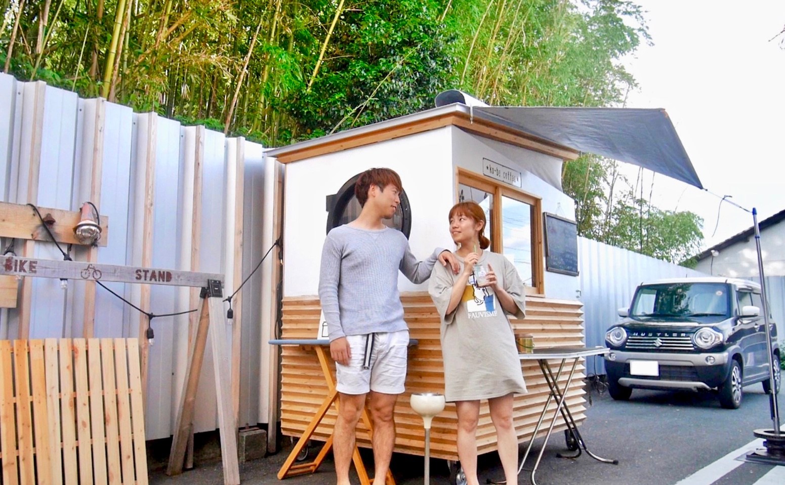 Eri-Taku Couple goes car camping at Shizuoka's famous coffee stand Nao-san Toko