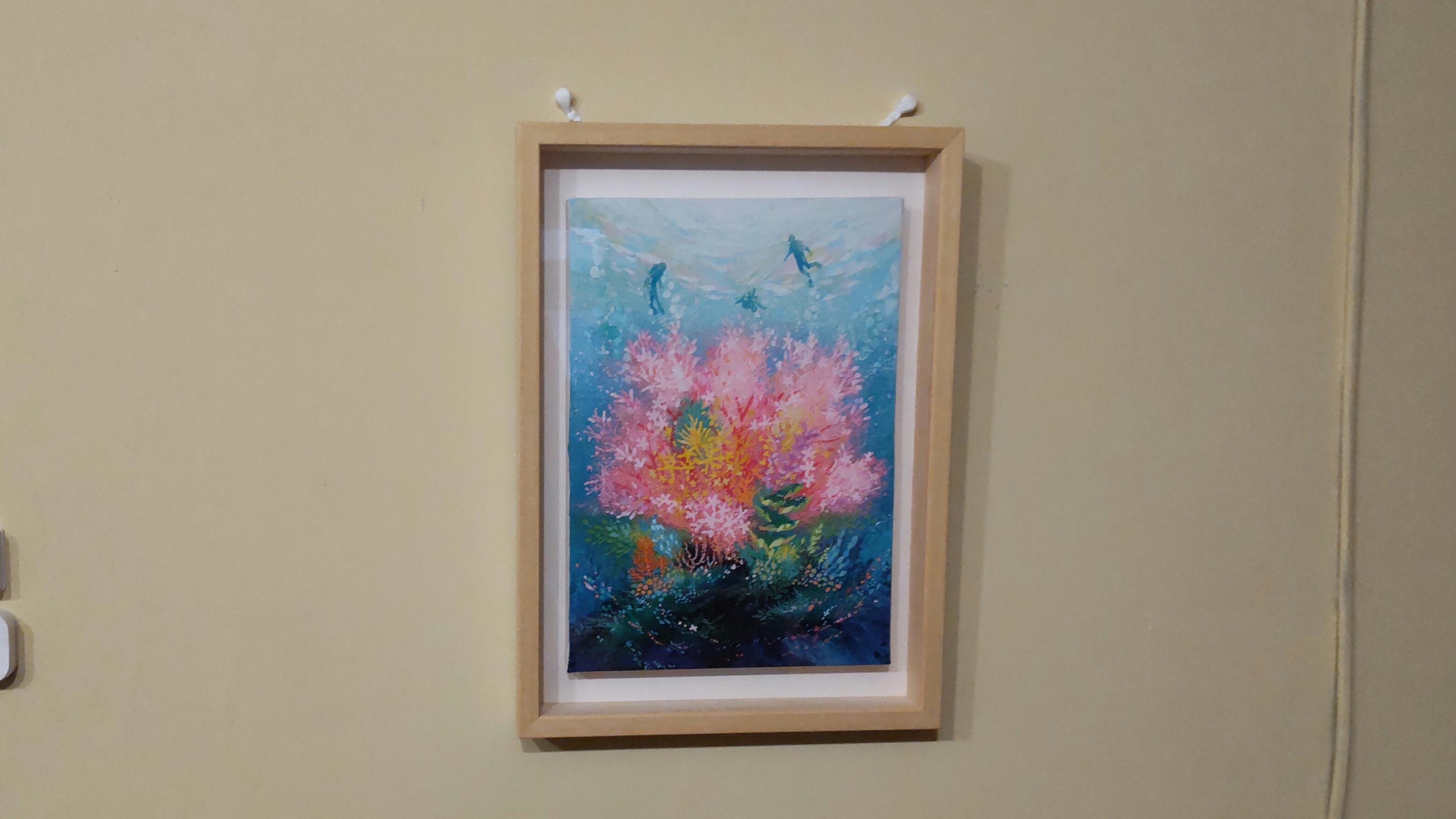 地元のアーティスト、米田絵里さんのトトノイ古民家オリジナル絵画。