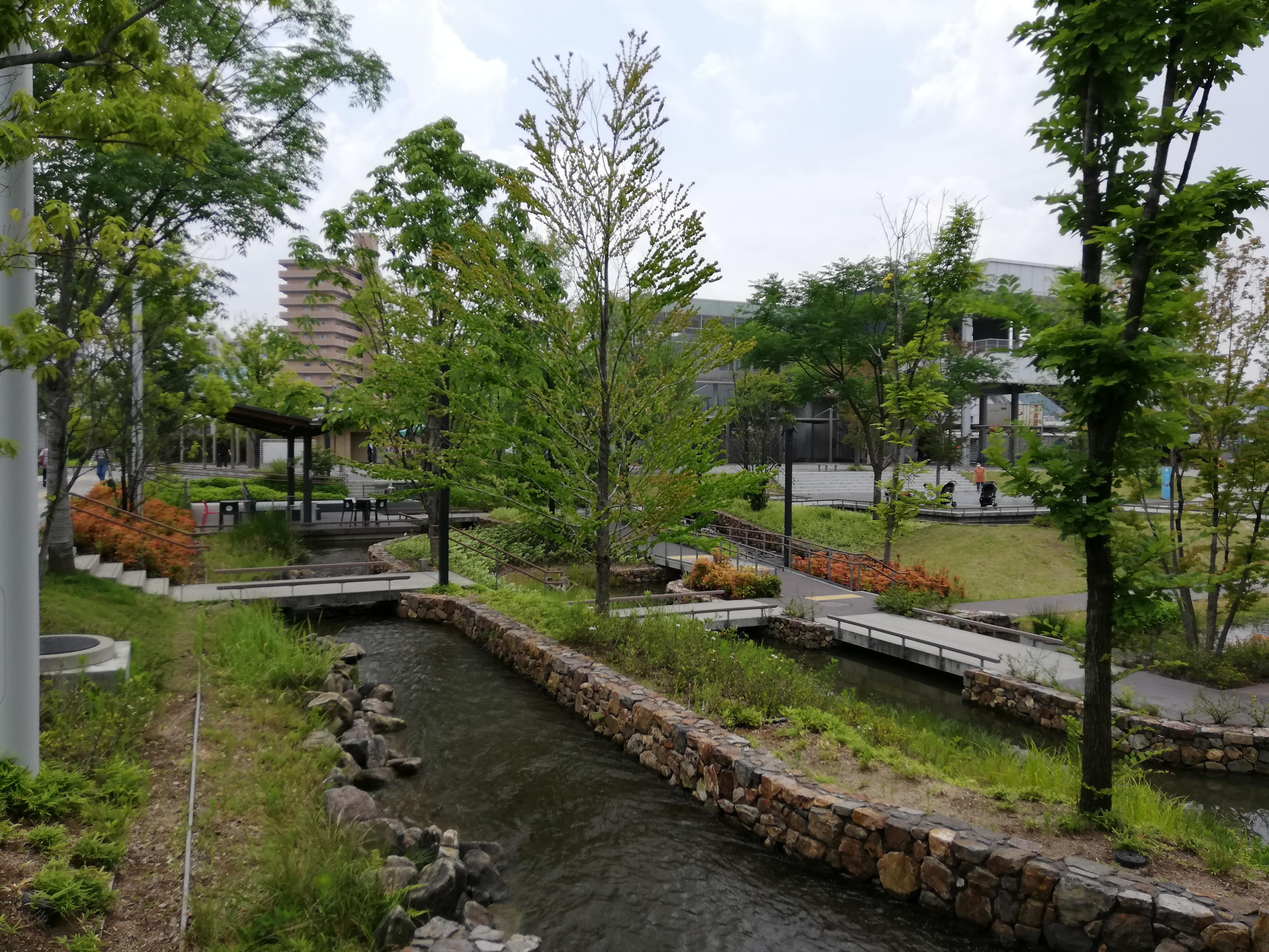 虎渓羊水広場は水と緑が豊かな穏やかな場所です。