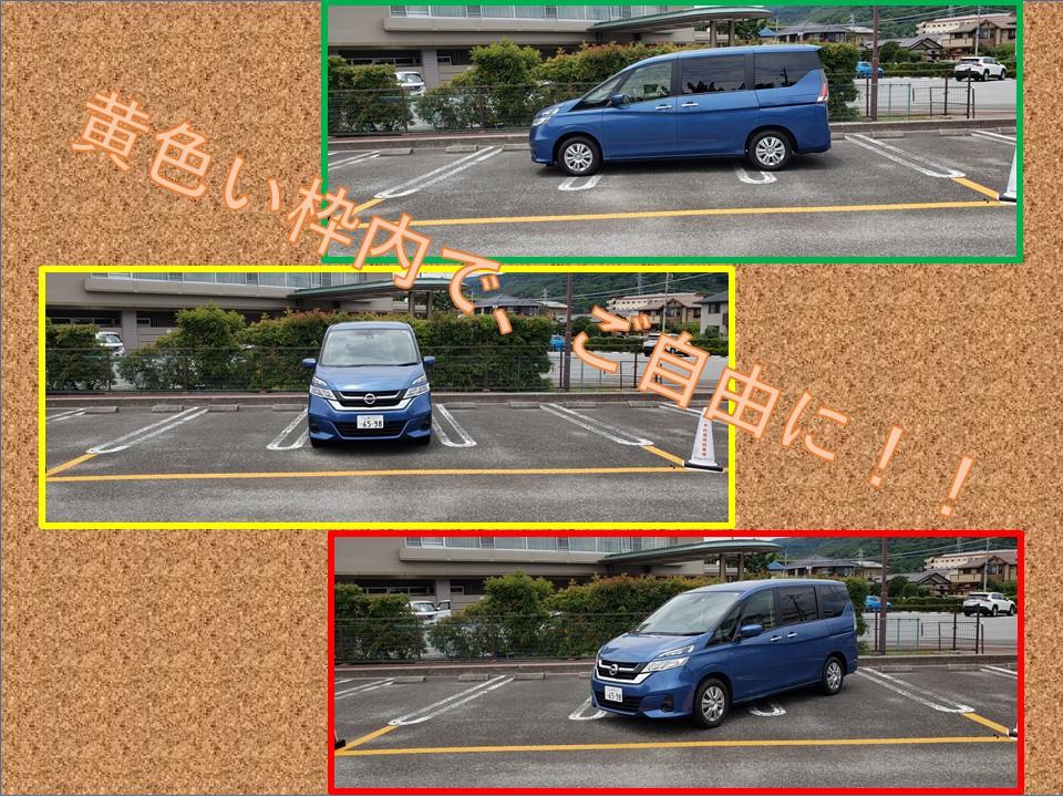 駐車スペース 枠内にご自由におとめ下さい。