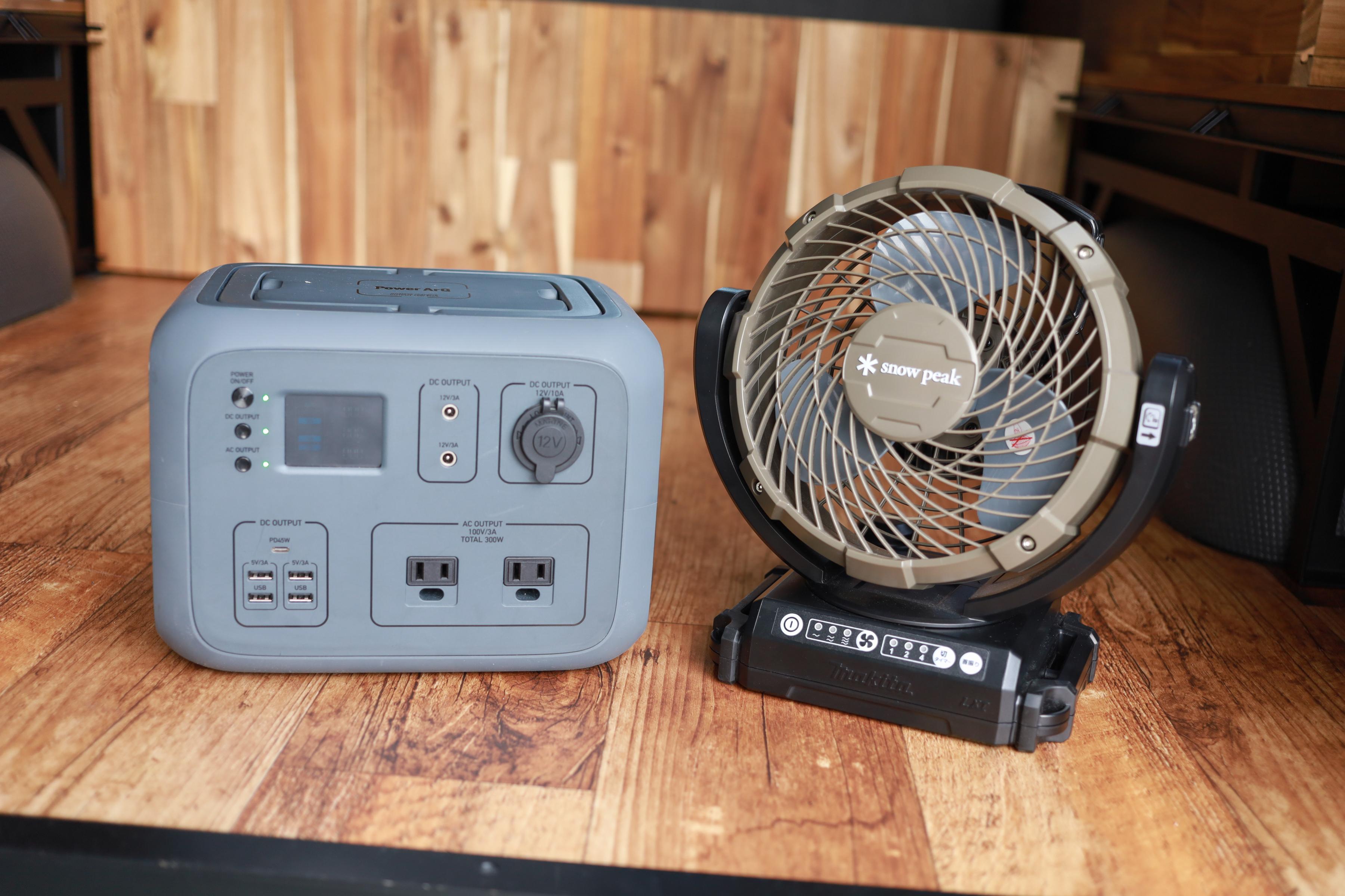 設備:ポータブルバッテリー&snowpeak扇風機