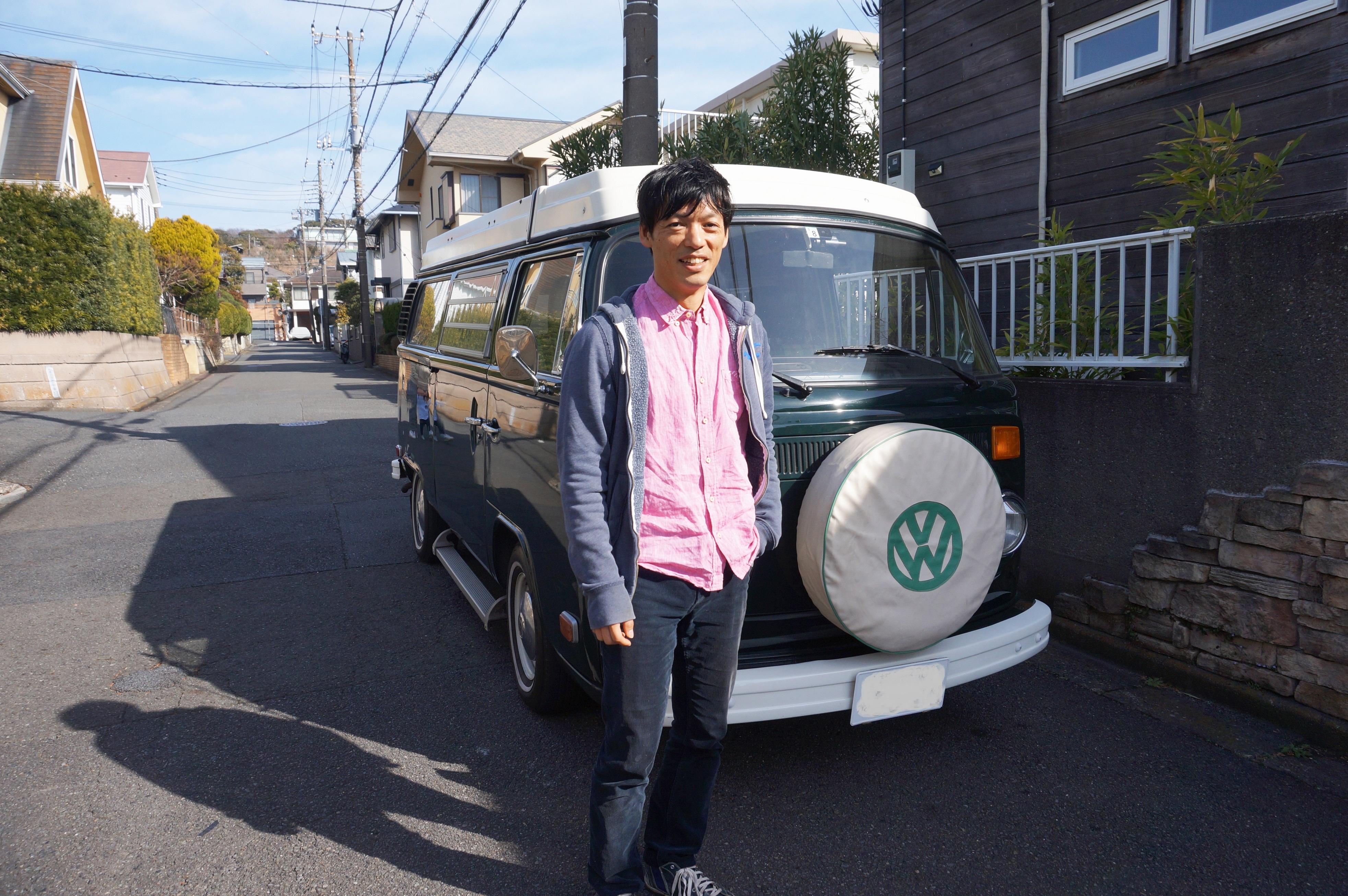子どもたちとの車中泊キャンプのために購入したワーゲンバス。今では地域とつながるきっかけに
