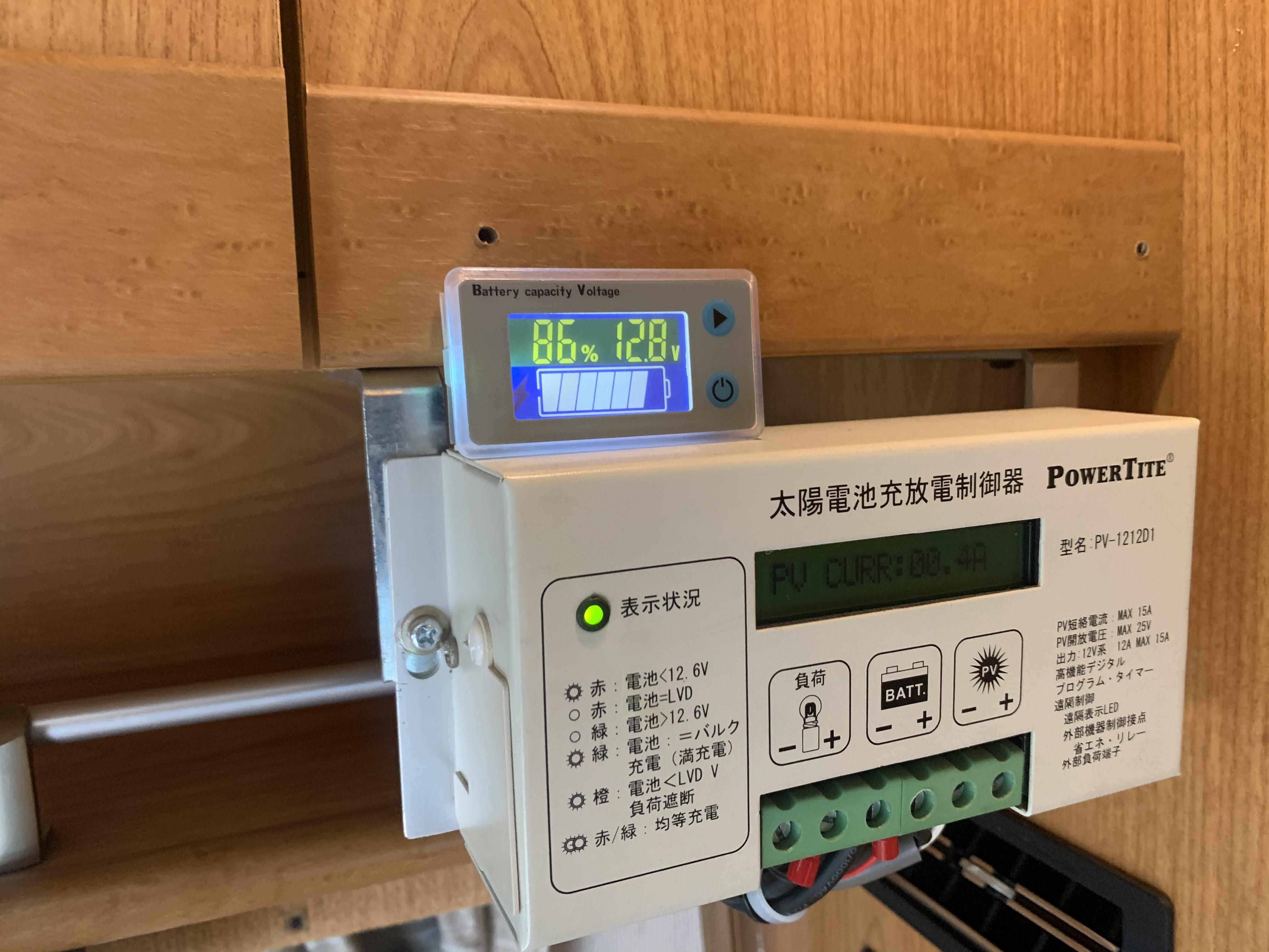 太陽光パネルとサブバッテリー残量計です。
