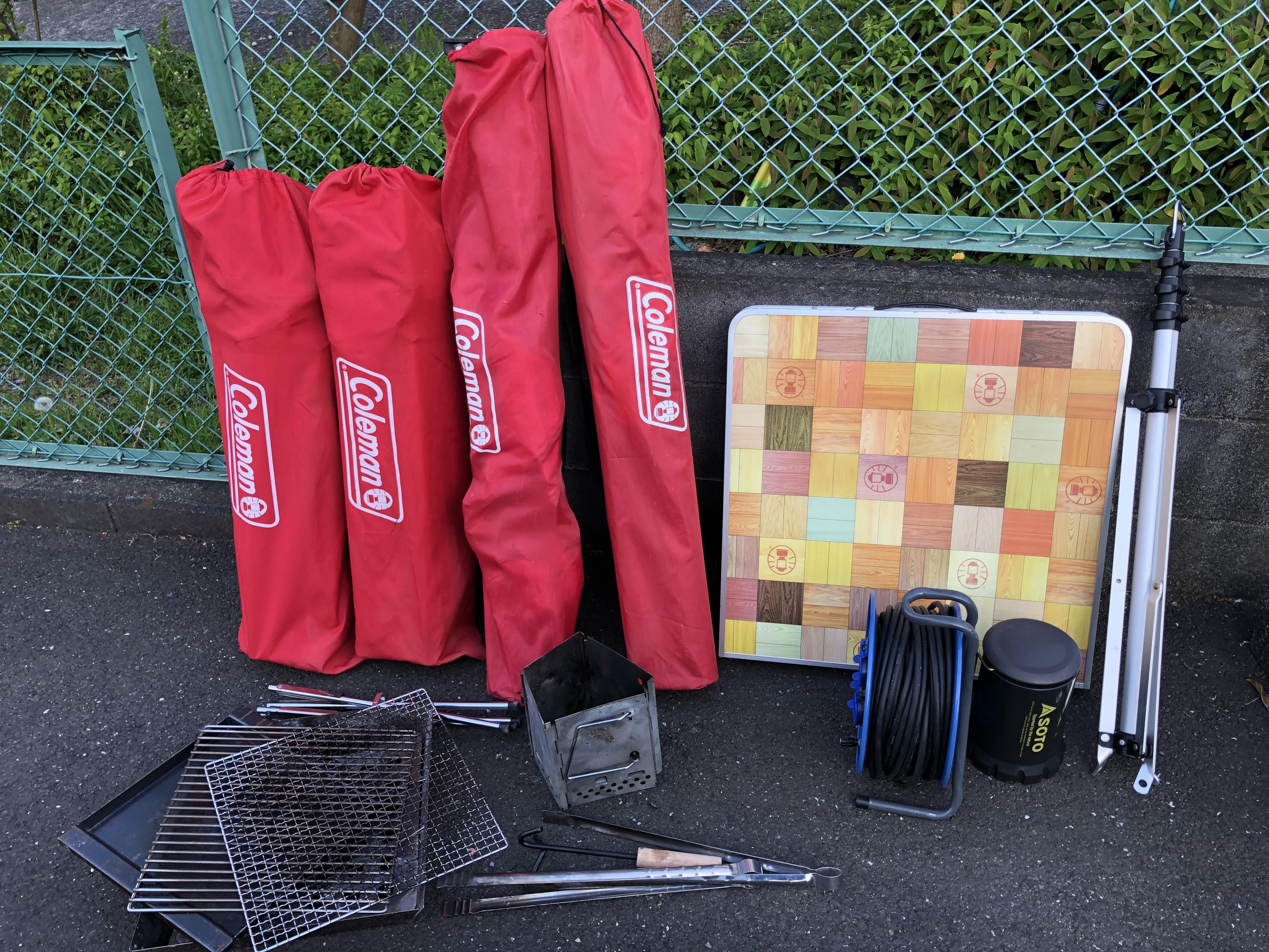 無料オプション 椅子4脚 テーブル 火起こし器 ファイアーグリル(金網 鉄板 ロストル)ガス式ランタン ランタンポール 延長コード