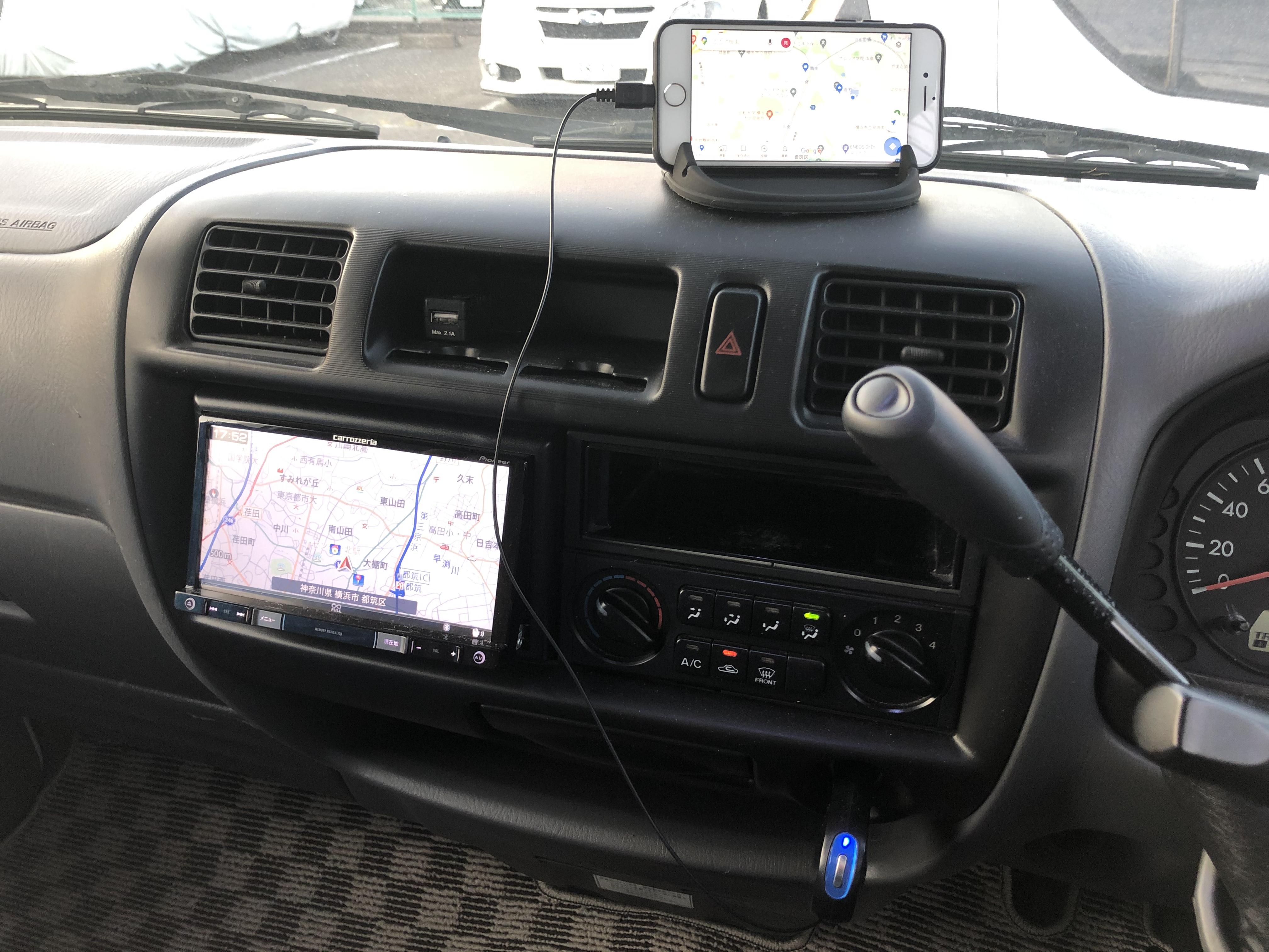 カロッツェリアNAVI 低いので携帯ナビをおすすめします。Bluetooth接続でお好みの音楽でドライブ