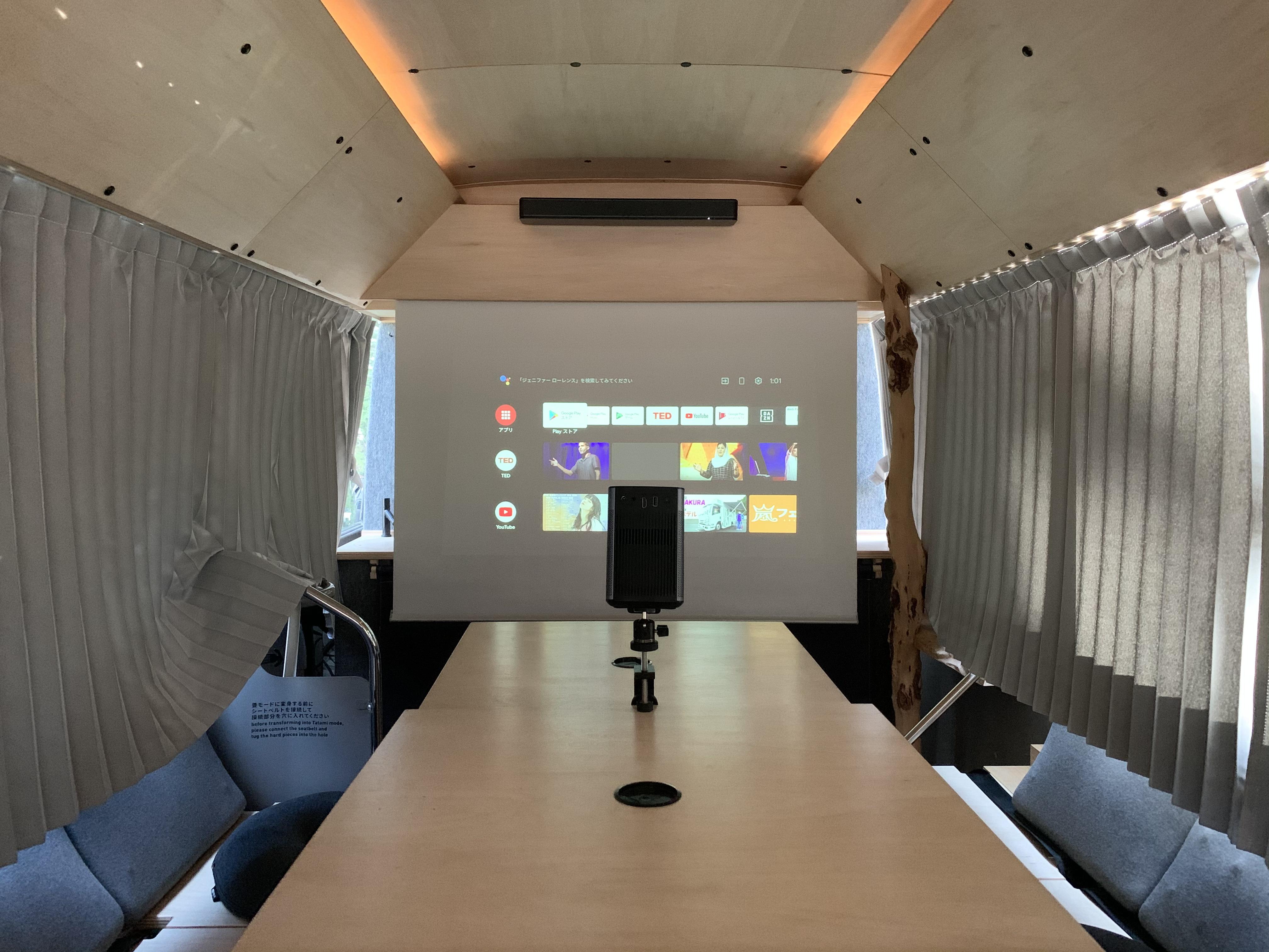 (5)プロジェクター+スクリーン。Boseのサウンドバーもご利用いただけます。