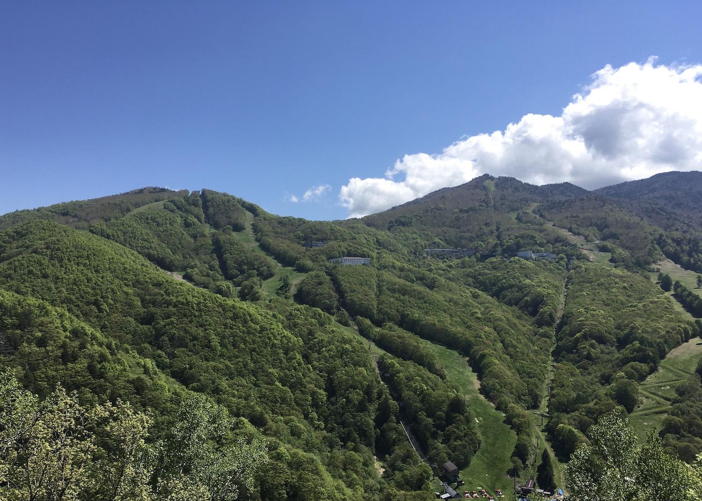宿全景。2つの山の真ん中あたりの建物です。