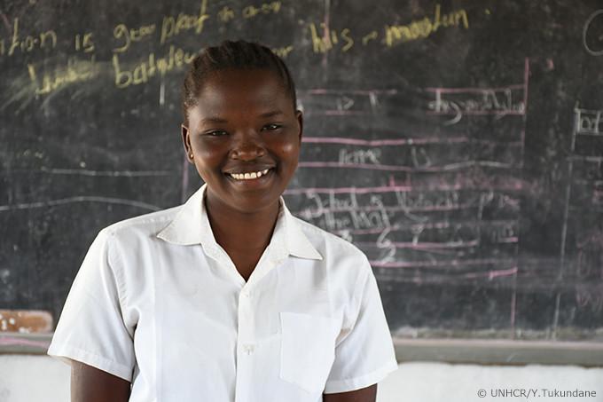写真:南スーダンから逃れた少女