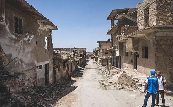 破壊された町のの様子