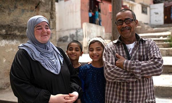 ヨルダンに逃れたシリア難民の一家