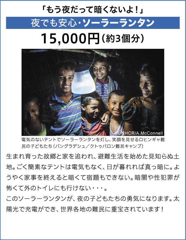 夜でも安心・ソーラーランタン 15,000円(約3個分)