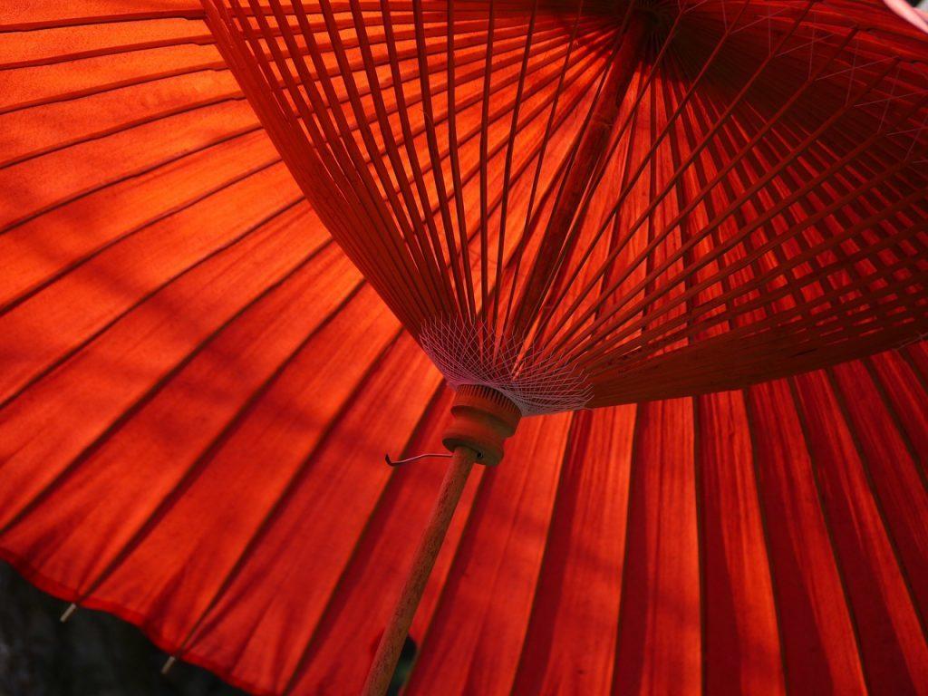 内側の角度から見た朱色の番傘