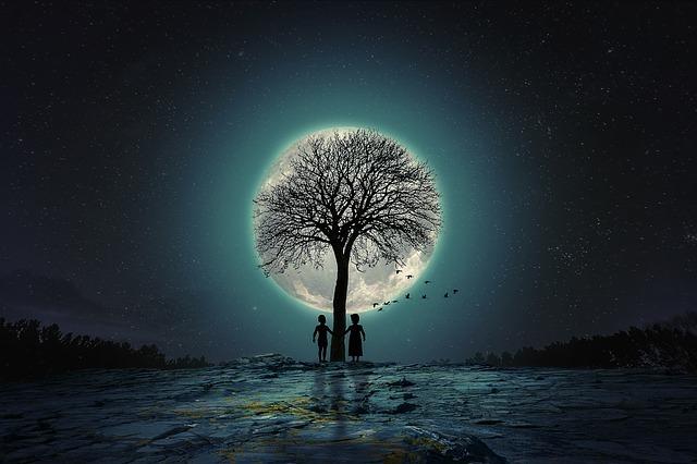 満月に照らされ大木の前で手を繋ぐ二人