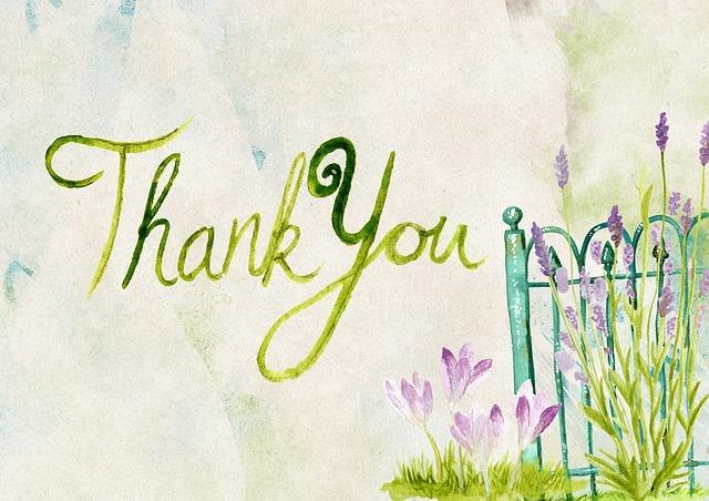 Thank youが中央に、柵と紫の花が右側に描かれている