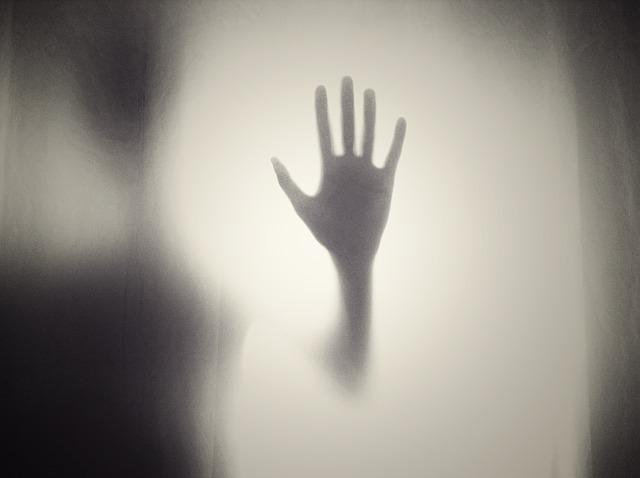 薄明りの中に浮かぶ手のシルエット
