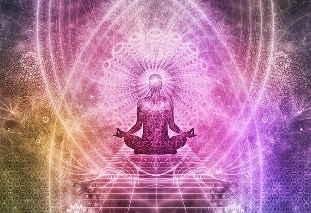 瞑想する人のシルエット