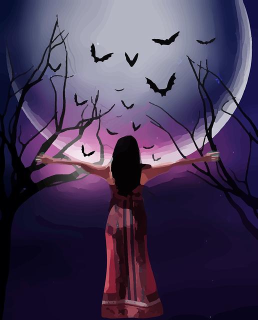 コウモリと女性のイラスト