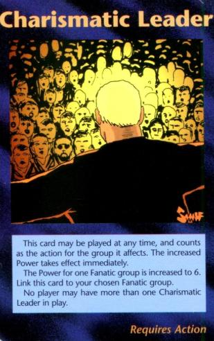 トランプらしき人物の後ろ姿が描かれたカード「Charismatic Leader」