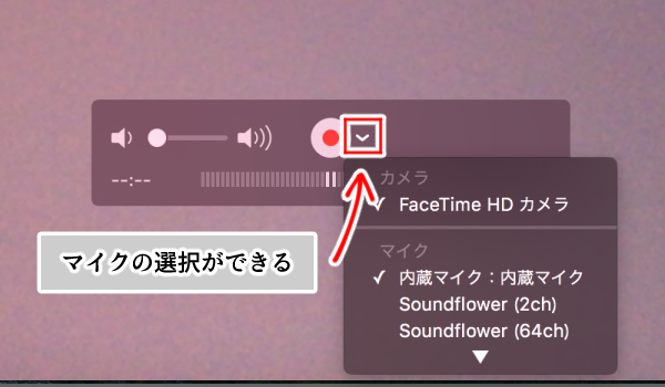 Mac・QuickTime Player(マイク設定確認)画面