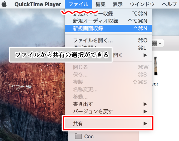 'Mac・QuickTime Player(ファイルから共有選択)画面