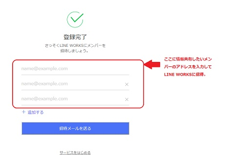 LINE WORKSにメンバーを招待