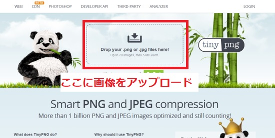 「Drop your .png or .jpg files here!」に画像をアップロード