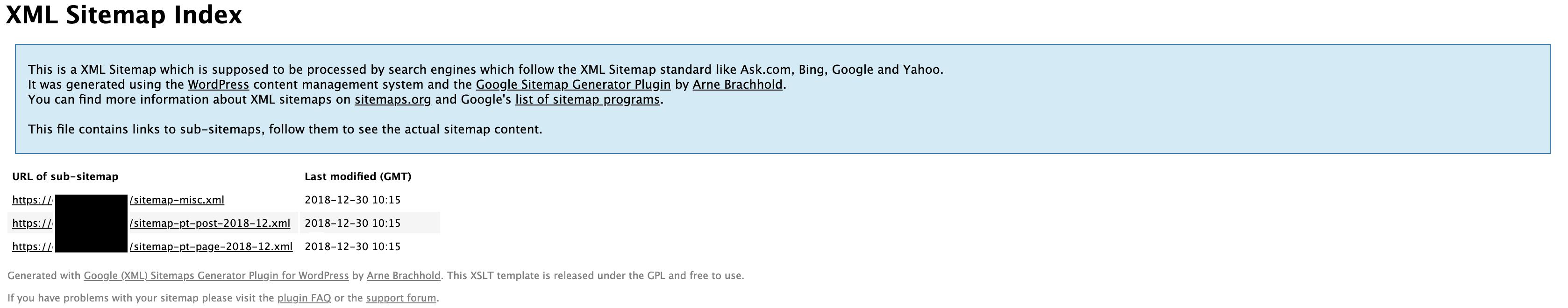 Google XML Sitemaps URL