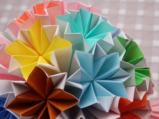 くす玉 花 枚 折り紙 30