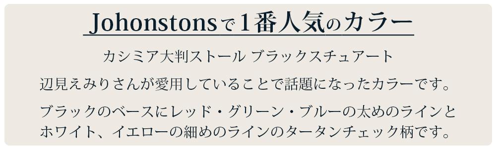 カシミア大判ストール ブラックスチュアート 辺見えみりさんが愛用していることで話題になったカラーです。 ブラックのベースにレッド、グリーン、ブルーの太めのラインと ホワイト、イエローの細めのラインのタータンチェック柄です。