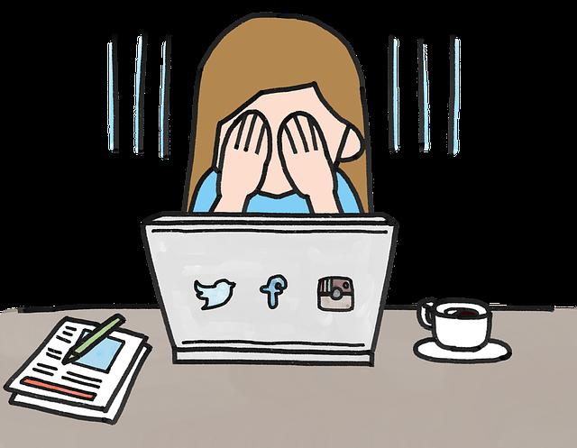 パソコンの前でお金ちこむ女性のイラスト