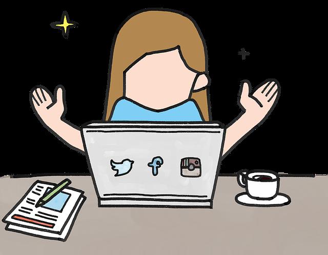 パソコンの前でキラキラ輝く女性のイラスト