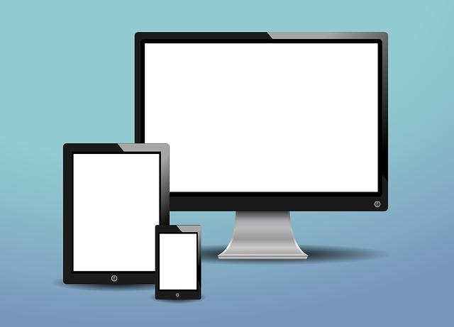パソコン・タブレット・スマホが並ぶイラスト