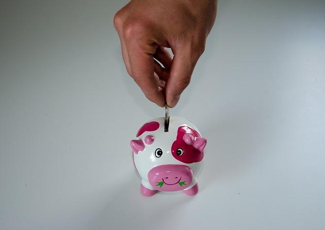 ブタの貯金箱にコインを入れる手