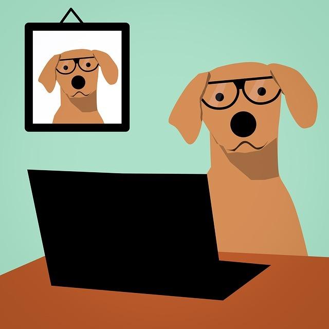 パソコンを使うイヌのイラスト