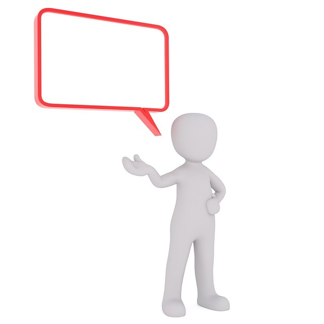 「自信を持って話している人」のイメージです。