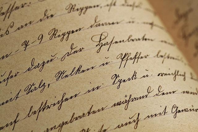 筆記体のページの写真です。