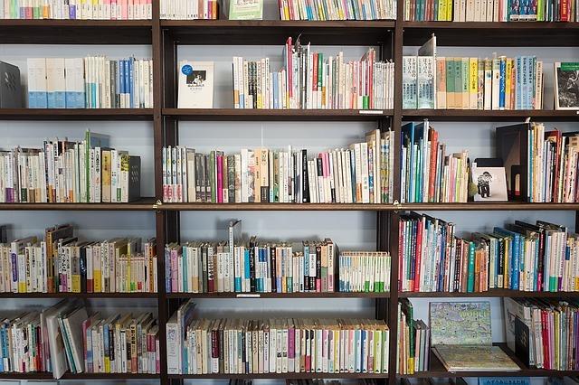 本棚にたくさんの書籍が置かれている写真です。