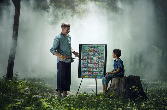 森の中で何かを教える先生と生徒
