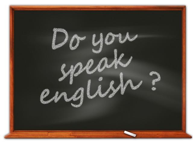 黒板に書かれたDo you speak English?の文字