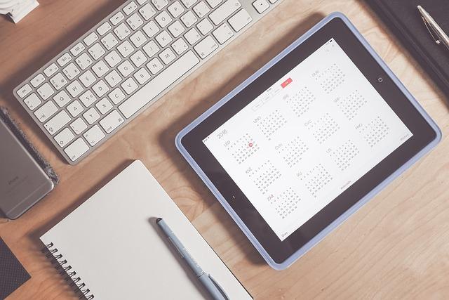 iPadでカレンダーを表示している