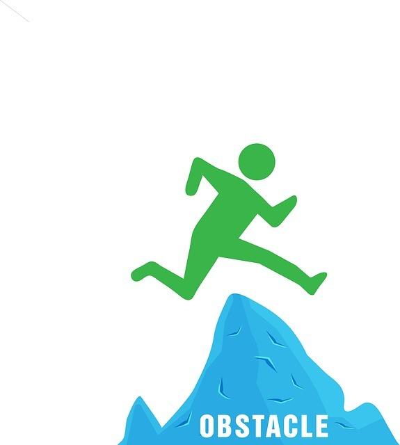 障害(obstacle)を乗り越えるイラスト